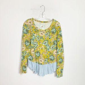 Anthropologie | floral layered sweater peplum hem